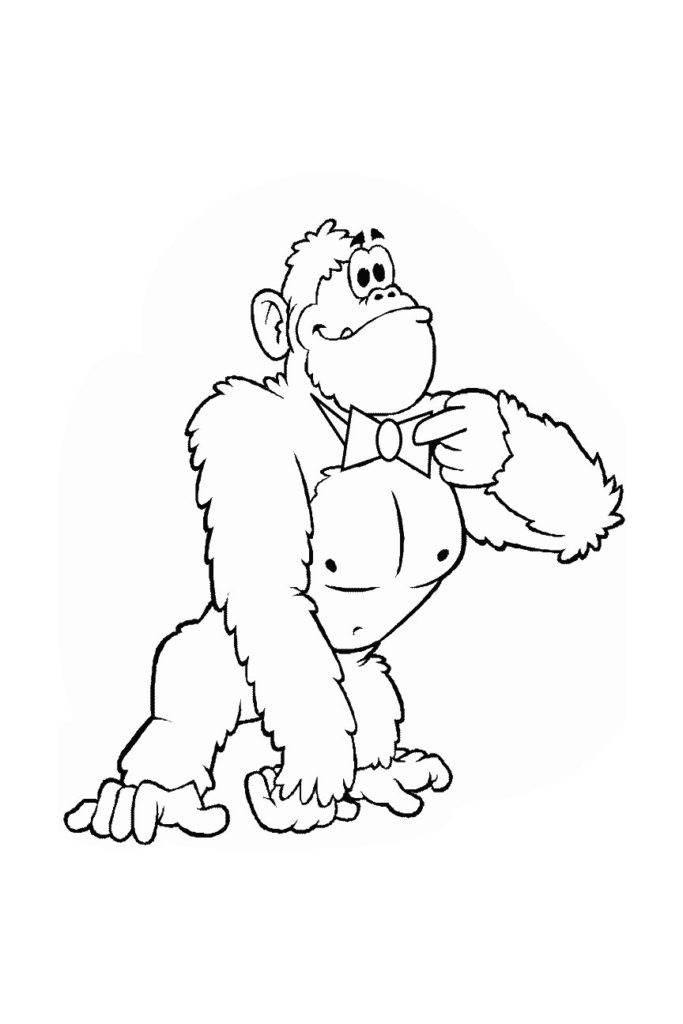 the gorilla has a proud expression on its face but outside of the animal straightening a bow tie we have no context coloring inside the lines augments - Outside The Lines Coloring Book